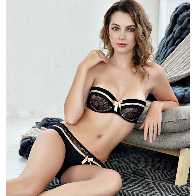 Push up BH Set in Spitze mit floralem Muster, 4 Farben
